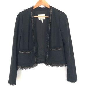 Rebecca Taylor | Open Blazer Tweed Fringe Gold